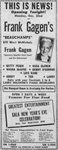 Frank Gagen's Opens